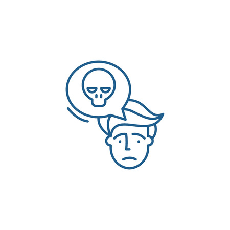 Panic line concept icon. Panic flat  vector website sign, outline symbol, illustration.