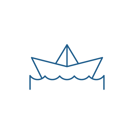 Paper boat line concept icon. Paper boat flat  vector website sign, outline symbol, illustration.