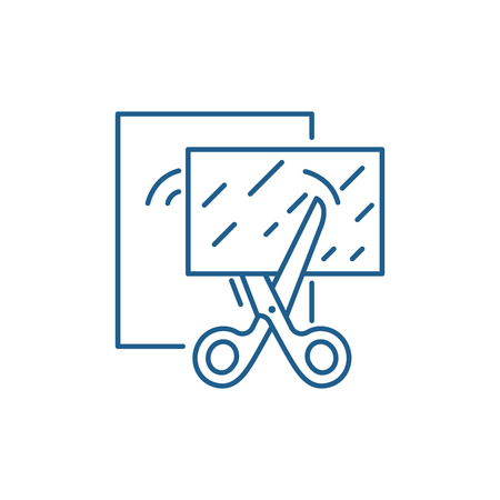 Paper cutting line concept icon. Paper cutting flat  vector website sign, outline symbol, illustration.