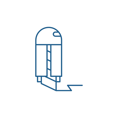 Paper knife line concept icon. Paper knife flat  vector website sign, outline symbol, illustration.