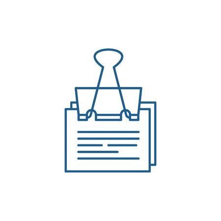 Paper peg line concept icon. Paper peg flat  vector website sign, outline symbol, illustration.