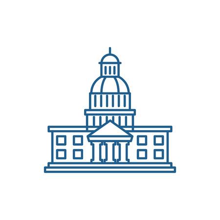 Symbol für das Konzept der Leitung des Parlaments. Flaches Vektor-Website-Zeichen des Parlaments, Umrisssymbol, Illustration.