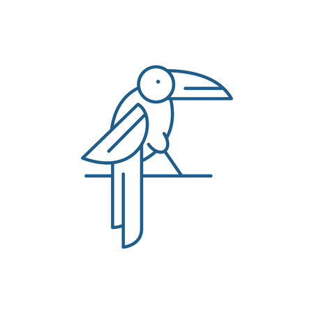 Parrot line concept icon. Parrot flat  vector website sign, outline symbol, illustration. Иллюстрация