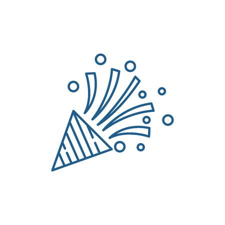 Party flapper line concept icon. Party flapper flat  vector website sign, outline symbol, illustration. Illustration