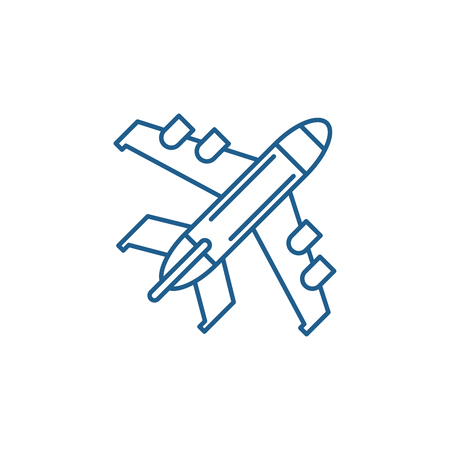 Passenger plane line concept icon. Passenger plane flat  vector website sign, outline symbol, illustration.