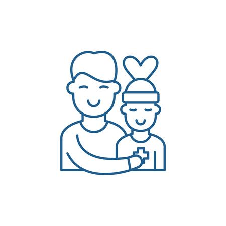Patient care line concept icon. Patient care flat  vector website sign, outline symbol, illustration.