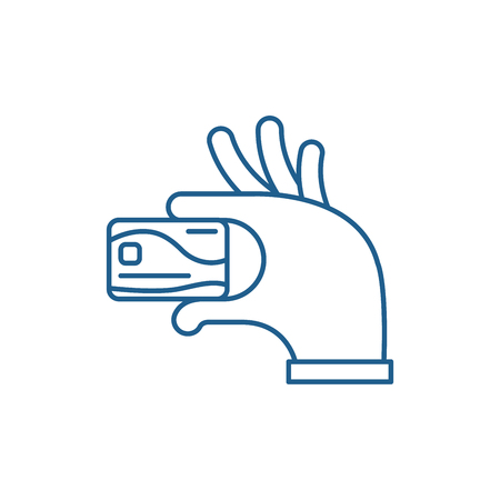 Payment by card line concept icon. Payment by card flat  vector website sign, outline symbol, illustration. 向量圖像