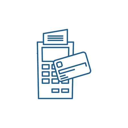 Payment by non cash money line concept icon. Payment by non cash money flat  vector website sign, outline symbol, illustration.