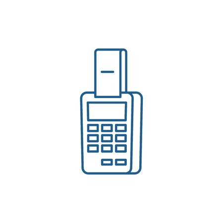 Payment by terminal line concept icon. Payment by terminal flat  vector website sign, outline symbol, illustration. Иллюстрация