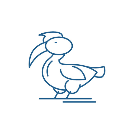 Pelican line concept icon. Pelican flat  vector website sign, outline symbol, illustration. Иллюстрация