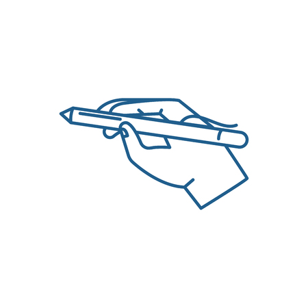 Pen in hand line concept icon. Pen in hand flat  vector website sign, outline symbol, illustration.