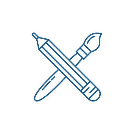 Pencil and paint brush line concept icon. Pencil and paint brush flat  vector website sign, outline symbol, illustration.