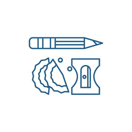 Pencil and sharpener line concept icon. Pencil and sharpener flat  vector website sign, outline symbol, illustration.