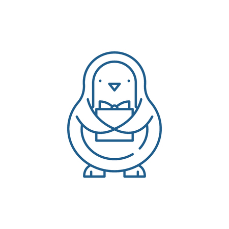 Penguin line concept icon. Penguin flat  vector website sign, outline symbol, illustration.