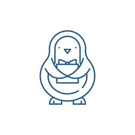 Penguin line concept icon. Penguin flat  vector website sign, outline symbol, illustration.