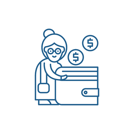 Pension contribution line concept icon. Pension contribution flat  vector website sign, outline symbol, illustration.