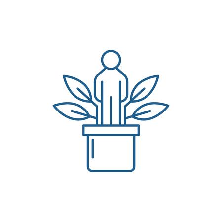 Icona del concetto di linea di sviluppo personale. Sviluppo personale sito web piatto vettore segno, simbolo di contorno, illustrazione.