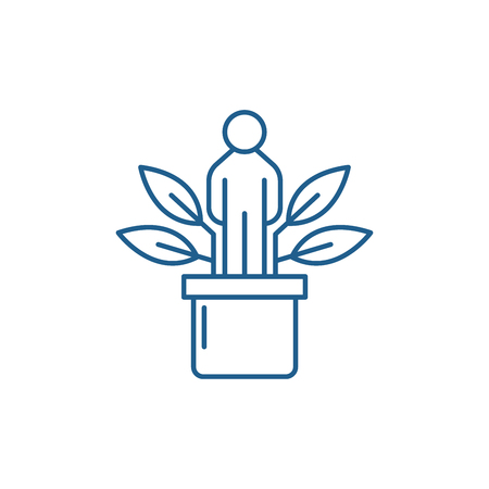 Personal development line concept icon. Personal development flat  vector website sign, outline symbol, illustration.