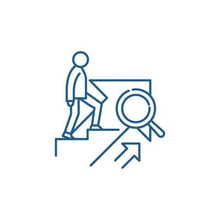 Ikona koncepcja linii wzrostu osobistego. Wzrost osobisty płaski wektor stronie znak, symbol konspektu, ilustracja.