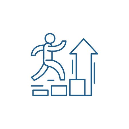 Icona del concetto di linea di miglioramento personale. Miglioramento personale sito web piatto vettore segno, simbolo di contorno, illustrazione.