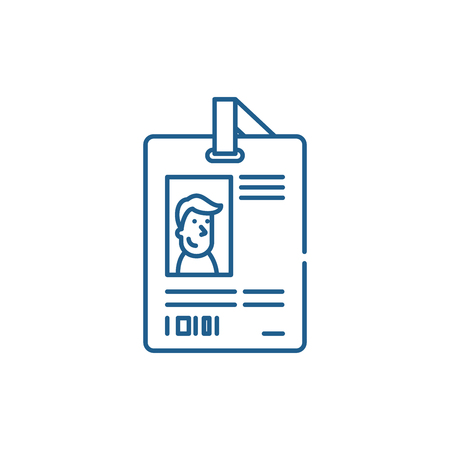 Personal pass line concept icon. Personal pass flat  vector website sign, outline symbol, illustration.