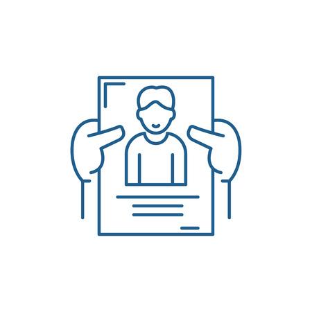 Icône de concept de ligne de gestion du personnel. Signe de site Web vectoriel plat de gestion du personnel, symbole du contour, illustration.