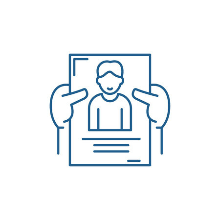 Personnel management line concept icon. Personnel management flat  vector website sign, outline symbol, illustration. Illustration