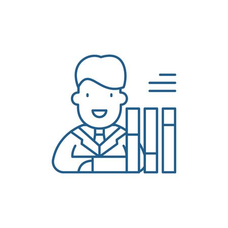 Personnel scorecard line concept icon. Personnel scorecard flat  vector website sign, outline symbol, illustration.