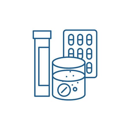 Pharmaceuticals line concept icon. Pharmaceuticals flat  vector website sign, outline symbol, illustration.