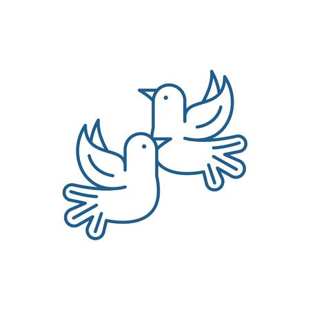 Pigeons line concept icon. Pigeons flat  vector website sign, outline symbol, illustration.