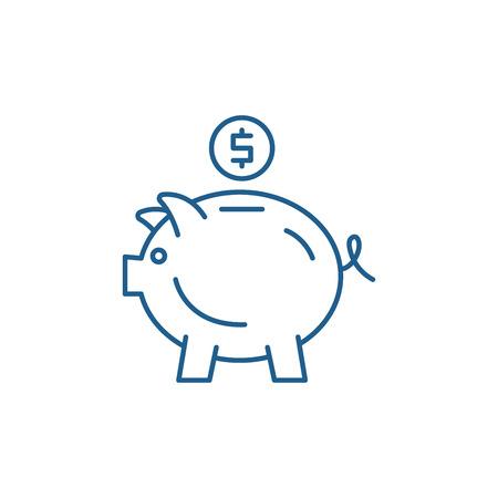 Piggy bank line concept icon. Piggy bank flat  vector website sign, outline symbol, illustration. Illusztráció