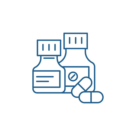 Pills line concept icon. Pills flat  vector website sign, outline symbol, illustration.  イラスト・ベクター素材