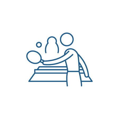 Table tennis play line concept icon. Table tennis play flat  vector website sign, outline symbol, illustration.