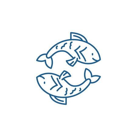 Pisces zodiac sign line concept icon. Pisces zodiac sign flat  vector website sign, outline symbol, illustration.