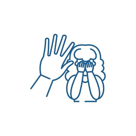 Icona del concetto di linea di aggressione fisica. Aggressione fisica vettore piatto sito web segno, simbolo di contorno, illustrazione.
