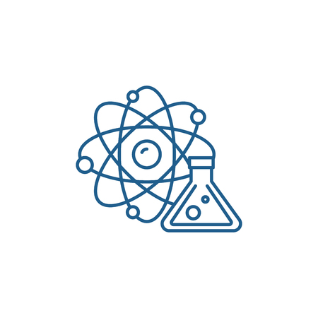Physics and chemistry line concept icon. Physics and chemistry flat  vector website sign, outline symbol, illustration. Archivio Fotografico - 119911700