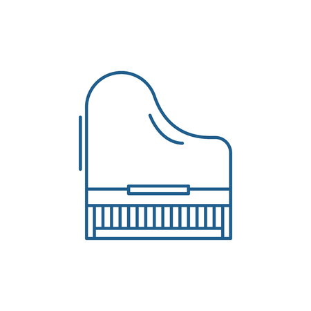 Piano line concept icon. Piano flat  vector website sign, outline symbol, illustration. Stock Illustratie