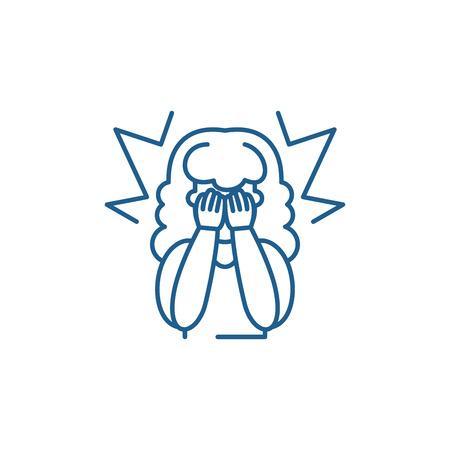Icône de concept de ligne de pitié. Signe de site Web de vecteur plat de pitié, symbole du contour, illustration.
