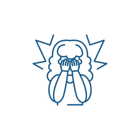 Pity line concept icon. Pity flat  vector website sign, outline symbol, illustration.  イラスト・ベクター素材