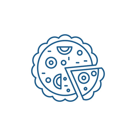 Pizza line concept icon. Pizza flat  vector website sign, outline symbol, illustration.