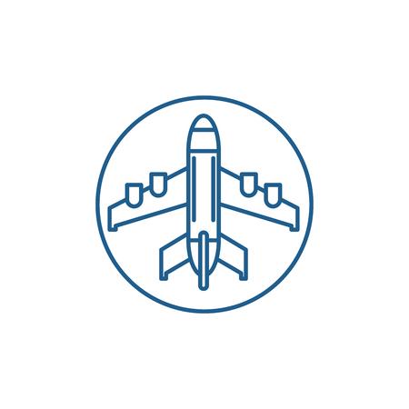 Plane landing line concept icon. Plane landing flat  vector website sign, outline symbol, illustration.