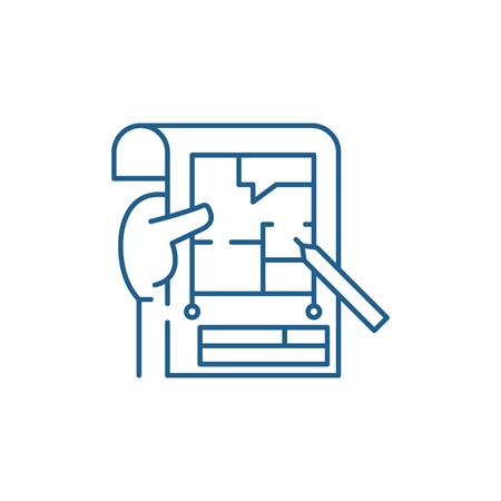 Planning line concept icon. Planning flat  vector website sign, outline symbol, illustration. Stock fotó - 119911712