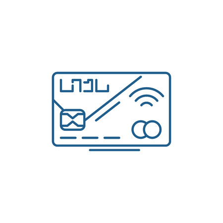 Plastic card line concept icon. Plastic card flat  vector website sign, outline symbol, illustration.