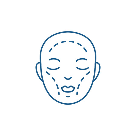 Plastic surgery line concept icon. Plastic surgery flat  vector website sign, outline symbol, illustration.