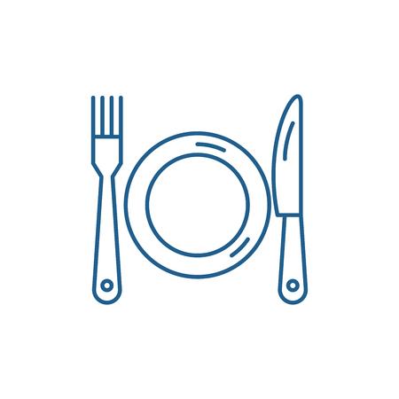 Icono de concepto de línea de plato, tenedor y cuchillo. Plato, tenedor y cuchillo plano vector signo de sitio web, símbolo de contorno, ilustración.