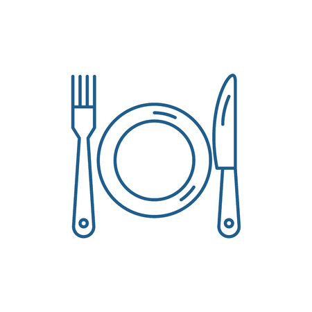 Plate, fork and knife line concept icon. Plate, fork and knife flat  vector website sign, outline symbol, illustration. Vettoriali