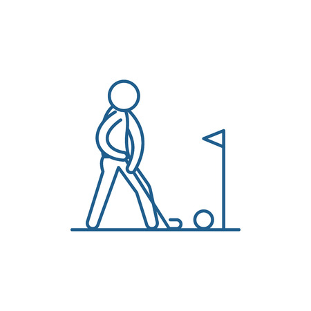 Playing golf line concept icon. Playing golf flat  vector website sign, outline symbol, illustration. Illustration