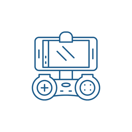 Playing on the smartphone line concept icon. Playing on the smartphone flat  vector website sign, outline symbol, illustration.