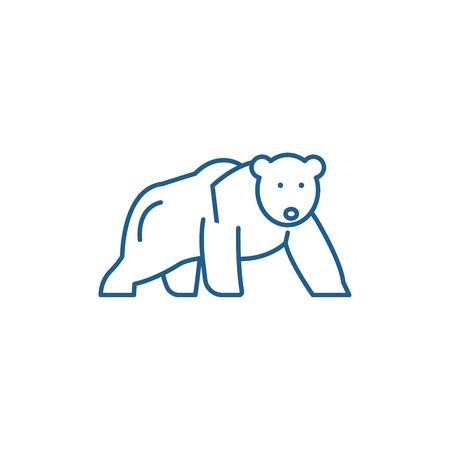 Polar bear line concept icon. Polar bear flat  vector website sign, outline symbol, illustration.
