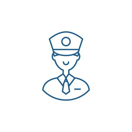Policeman line concept icon. Policeman flat  vector website sign, outline symbol, illustration. Illustration